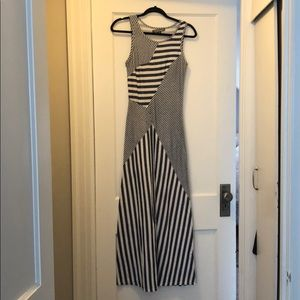 Finn & Clover blue and white striped fitted dress